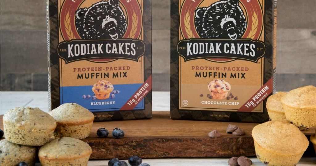 two brown boxes of muffin mix