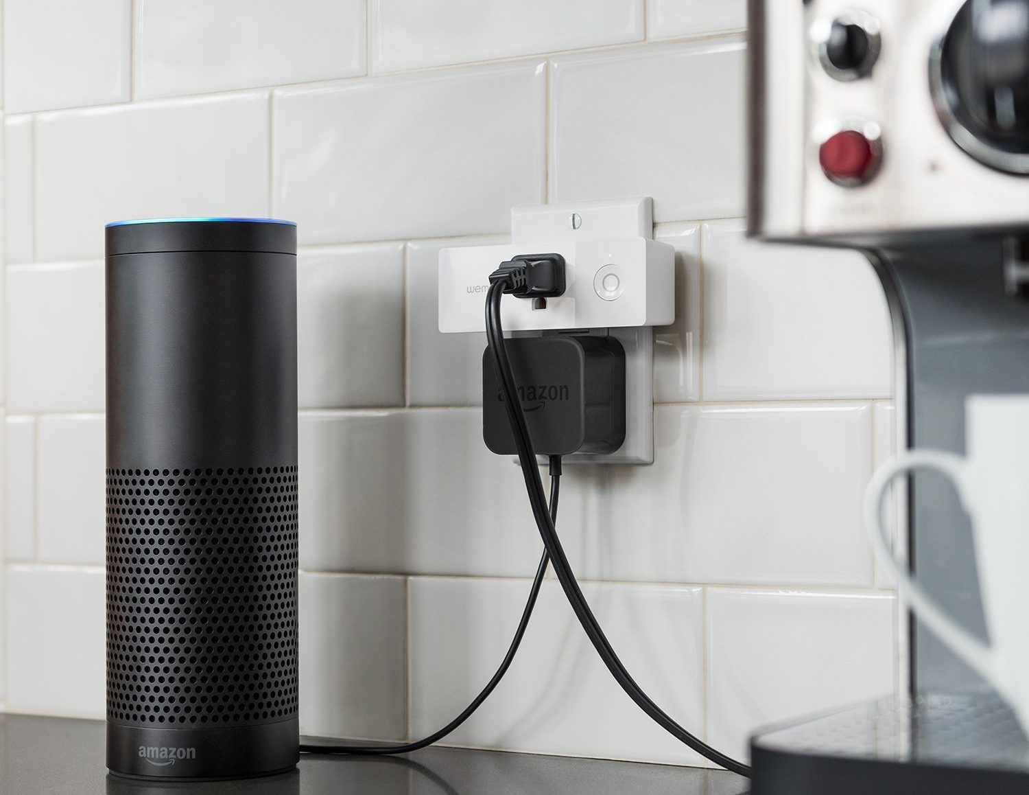 amazon device plugged into a wall