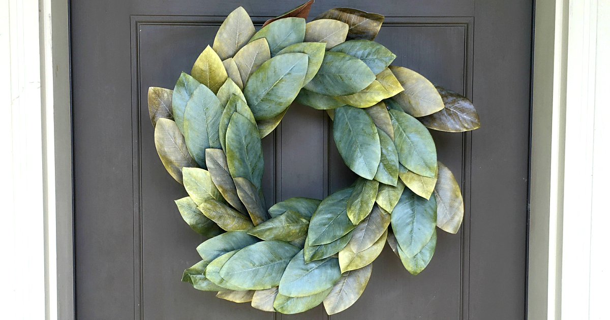 Magnolia wreath frugal look-alikes are as pretty as the real thing.