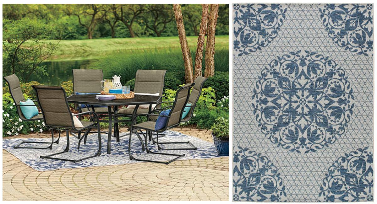 budget patio finds — blue medallion indoor outdoor rug