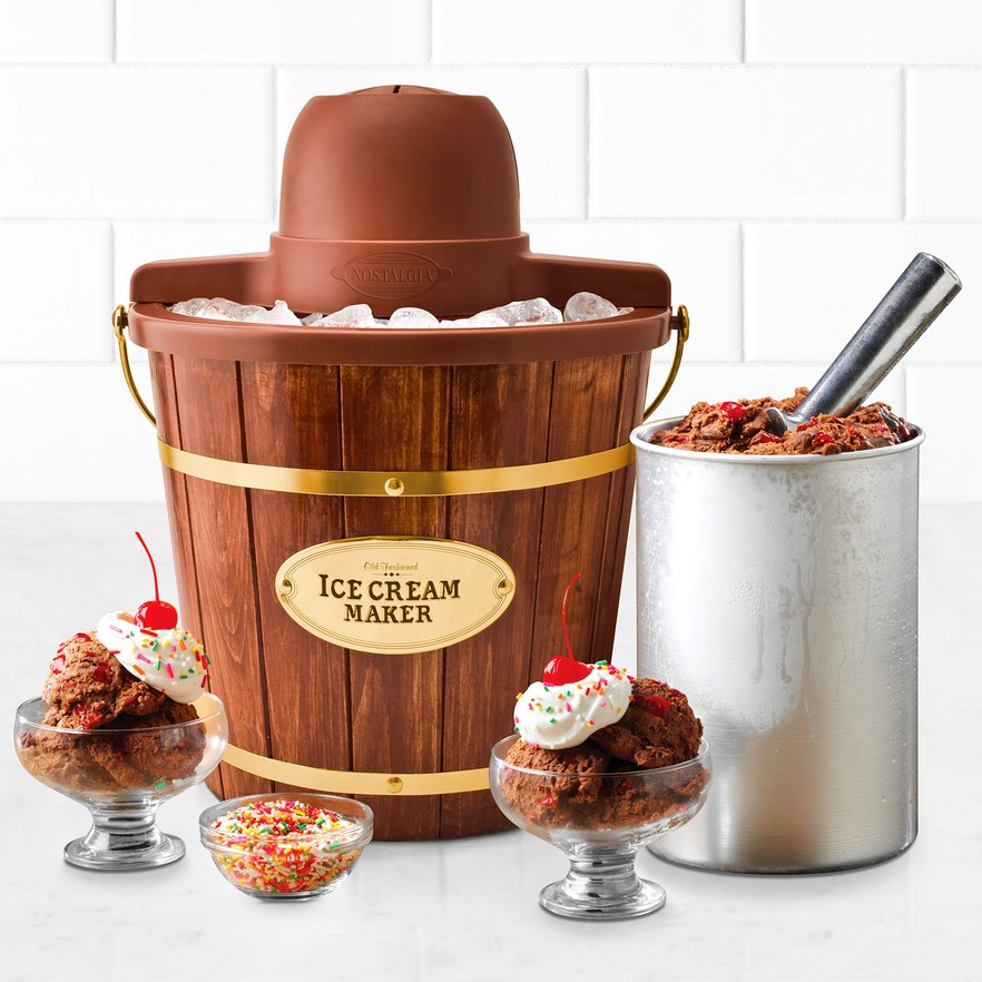 nostalgia electric ice cream maker bucket style shown with ice cream in dishes