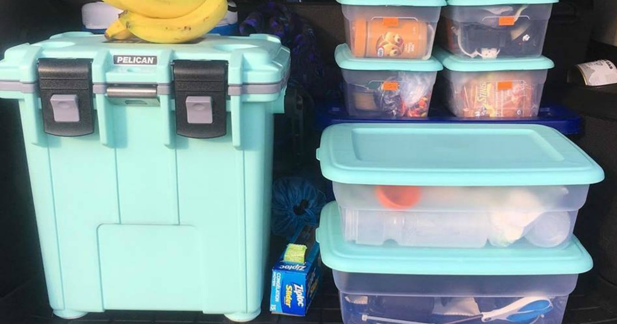 food containers and coolers packed with food