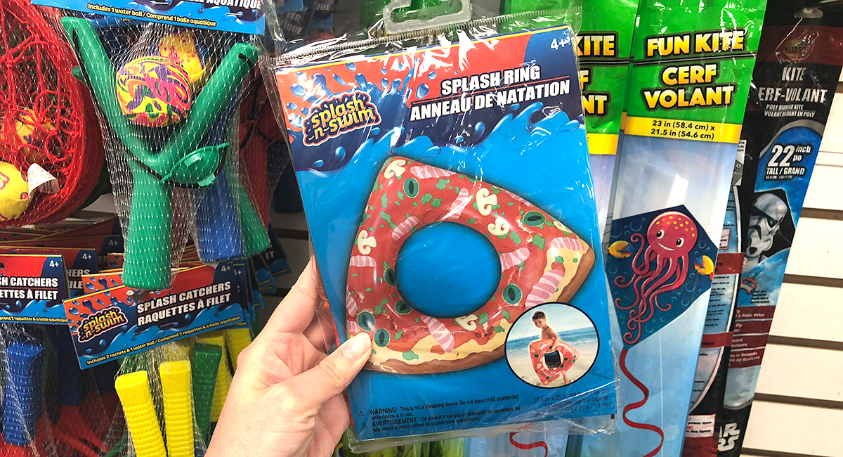 dollar tree pool supplies and fun hacks — pizza inflatable float