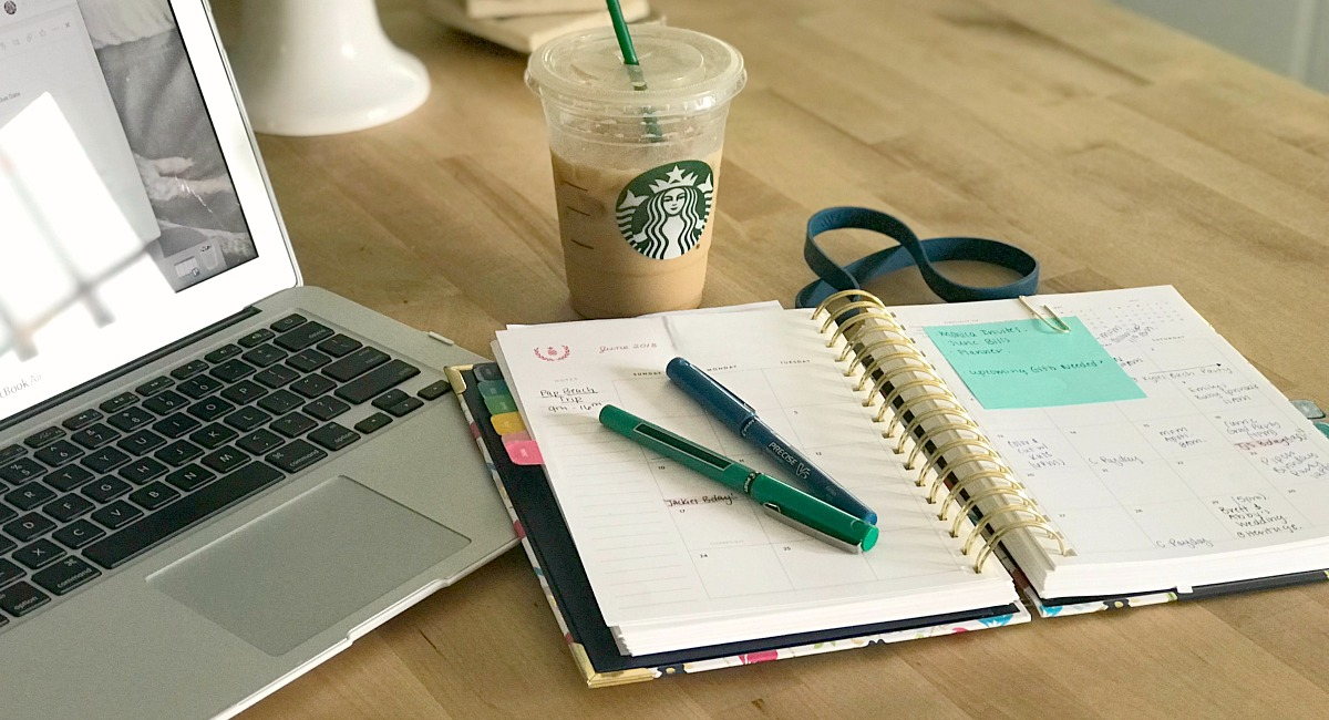 staying organized — using planner and time on Sundays to prep for the week
