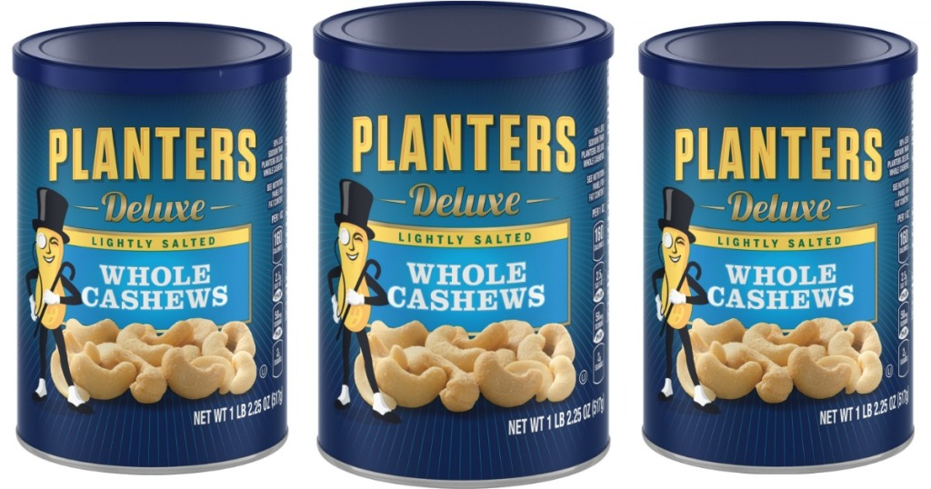 three stock images of planters cashews