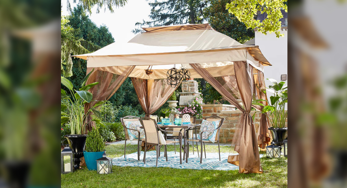 Big Lot budget patio finds — pop up canopy with netting