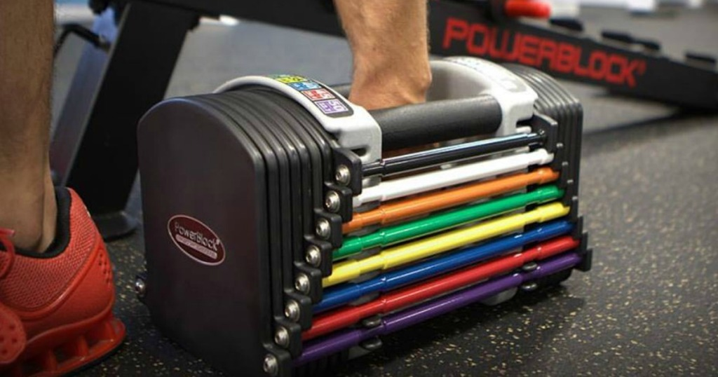 PowerBlock Personal Trainer Dumbbell Set in a gym on the floor