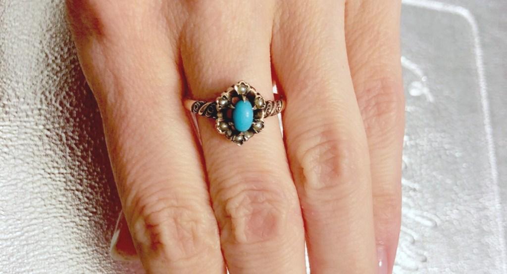 favorite splurges — rose gold turquoise ring