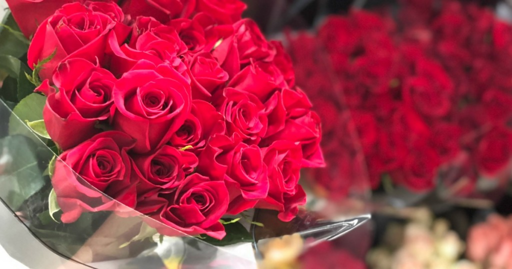 Roses on display in store