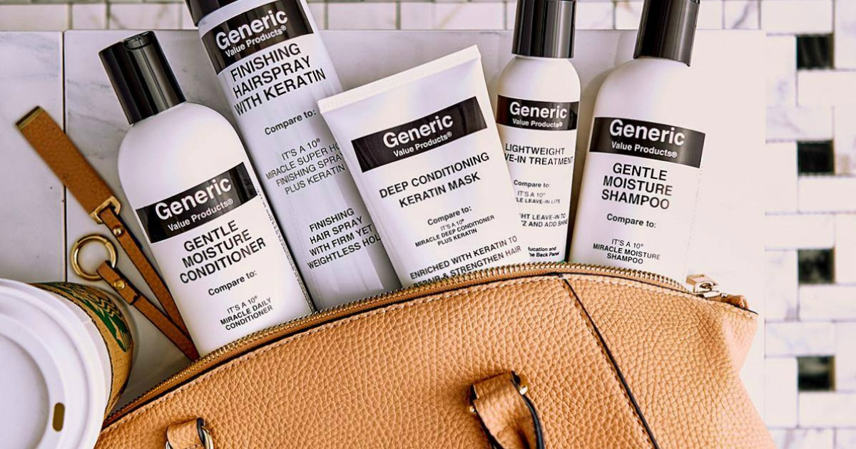 collection of sally beauty gvp products spilling out of a tan purse