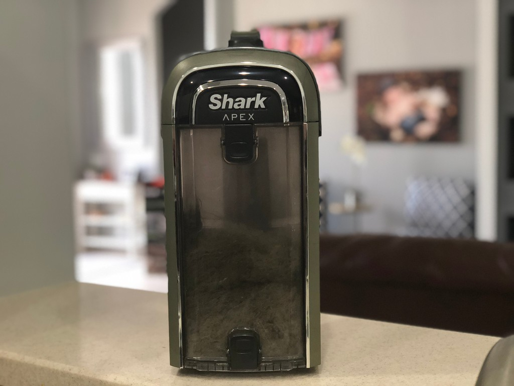 Shark APEX DuoClean vacuum review – visual of the tank filled with dust