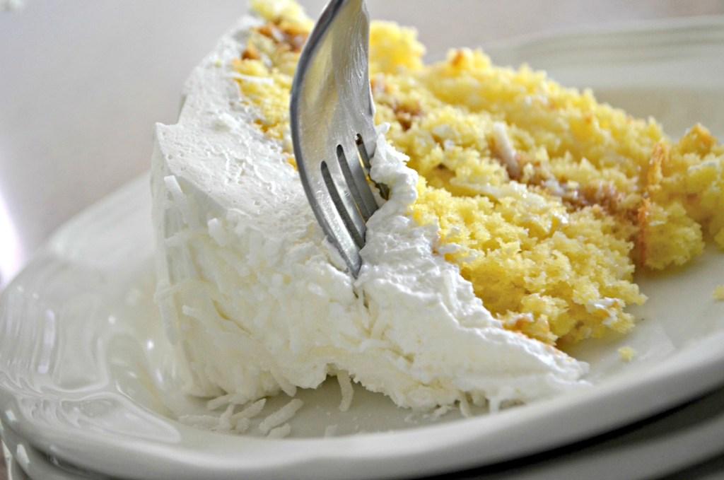 fork in coconut cake