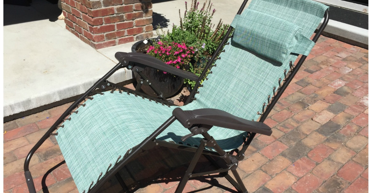 anti-gravity chair open on brick patio