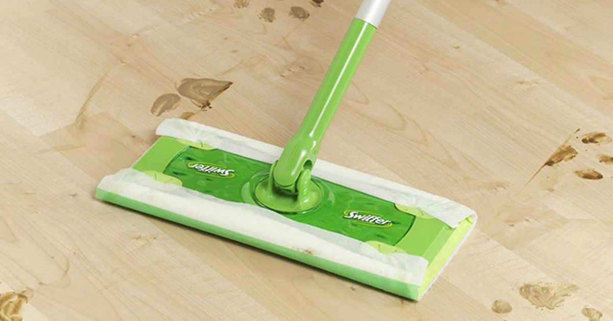 swiffer sweeper cleaning up mess on hardwood floor