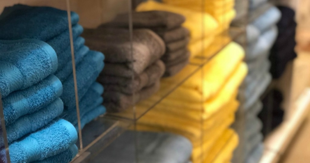 blue, grey and yellow towels