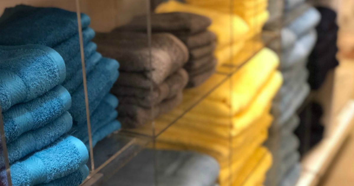 Tommy Hilfiger Towels on display shelf at Macy's