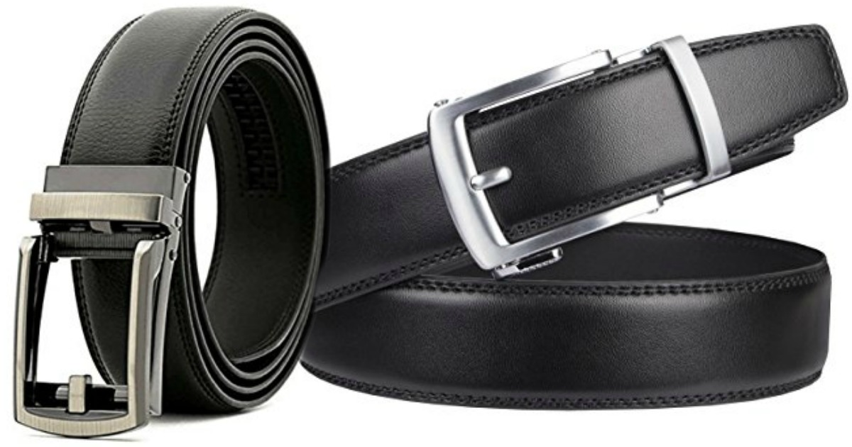 Various Styles and Colors Mens Holeless Leather Ratchet Click Belt Trim to Perfect Fit