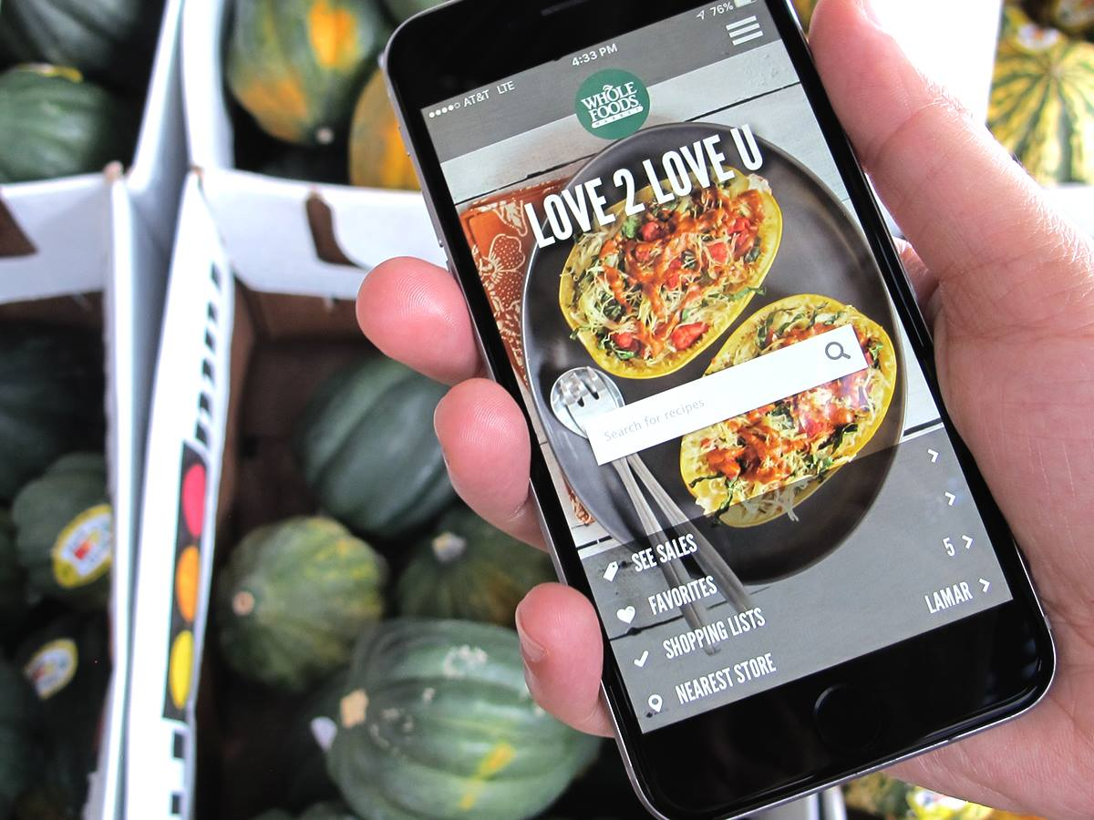 Amazon Prime members can save on yellow tag items at Whole Foods using the app.