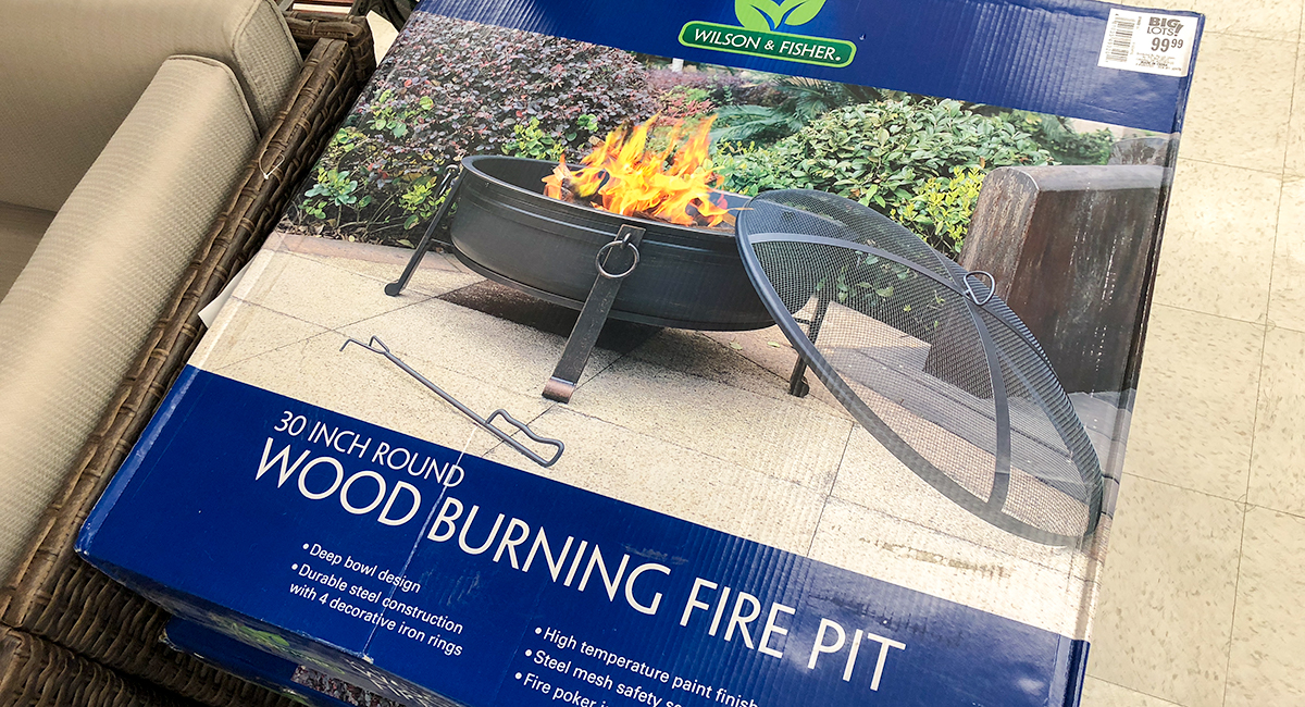 budget patio finds — wood burning fire pit
