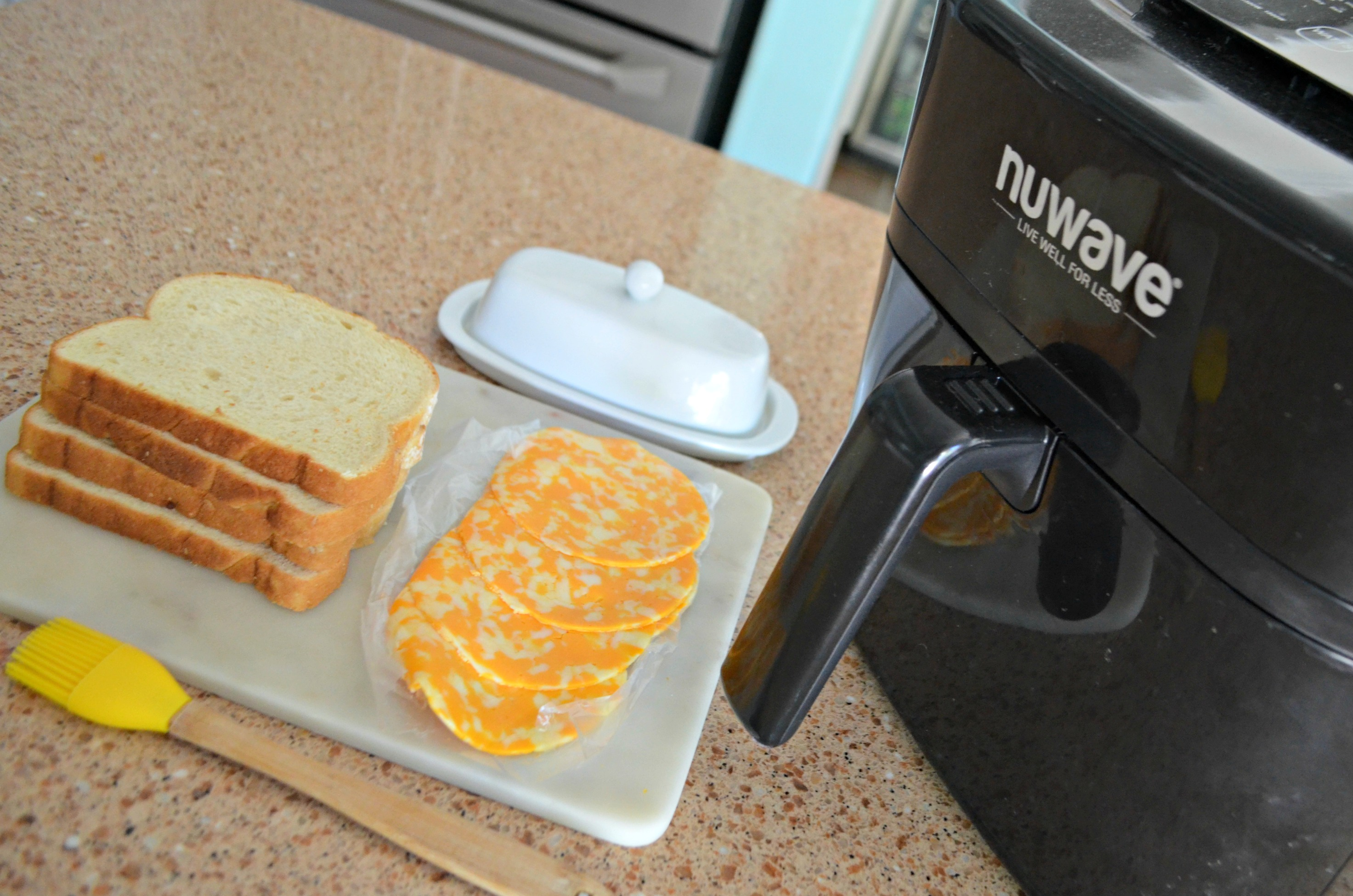 air fryer grilled cheese - ingredients on the counter