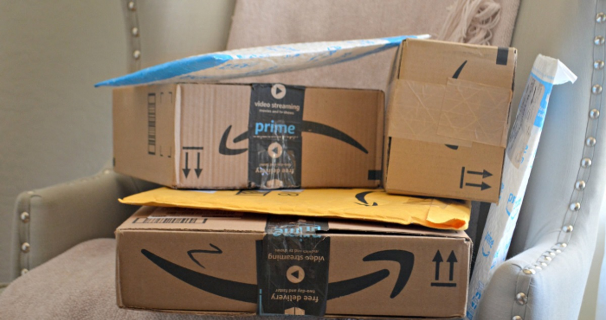 amazon packages beware brushing scam – chair filled with amazon packages