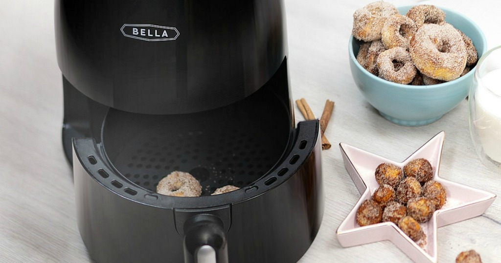 Bella air fryer with donuts in bowl