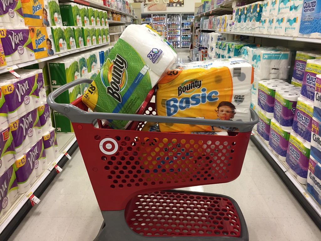 While Amazon's subscribe and save offers convenience and savings, head to stores to buy items when cheaper, like this Target cart filled with items