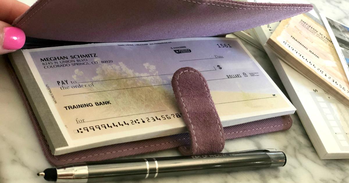 checkbook and pen closeup