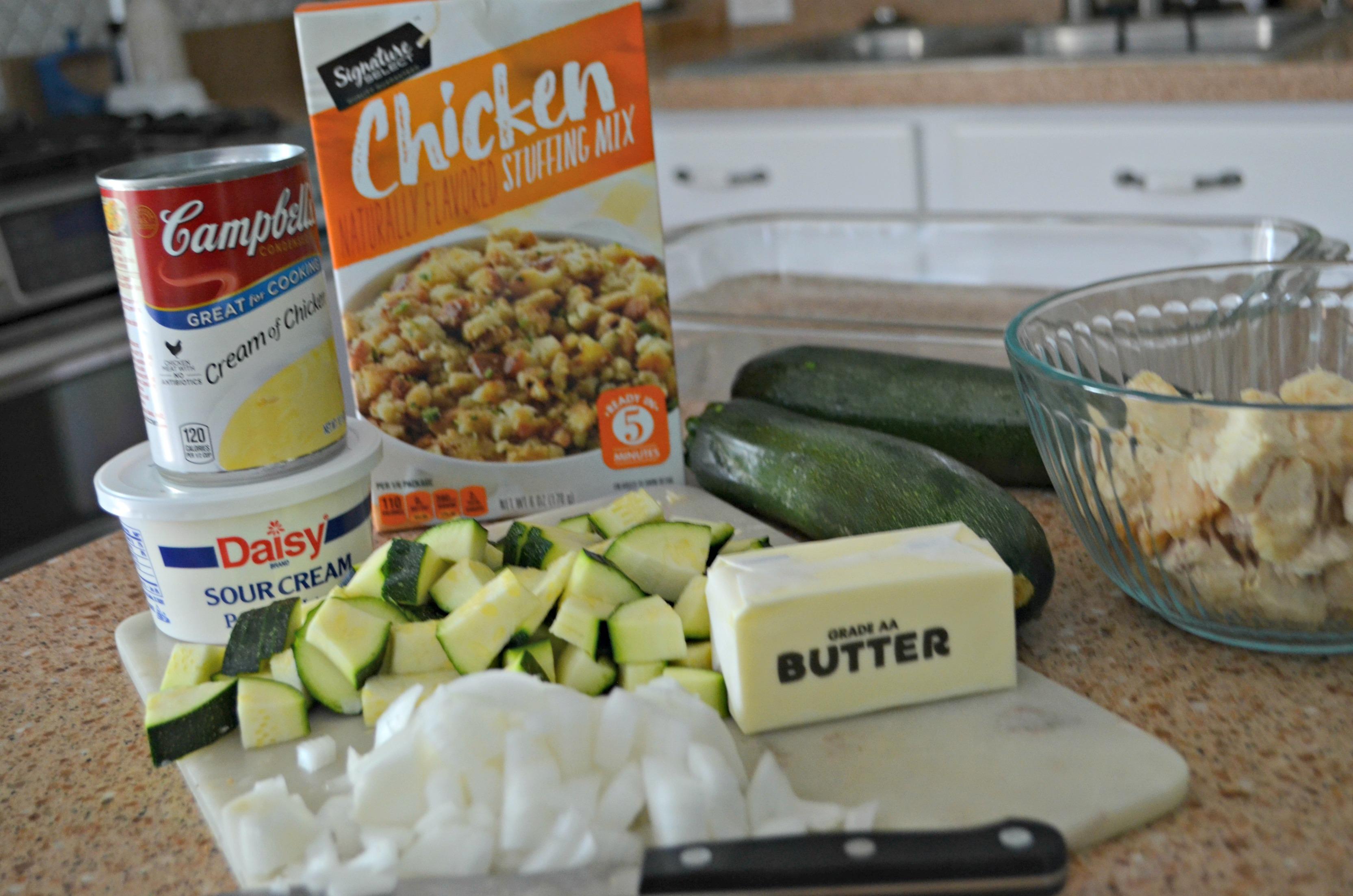 easy chicken zucchini casserole recipe -- raw ingredients
