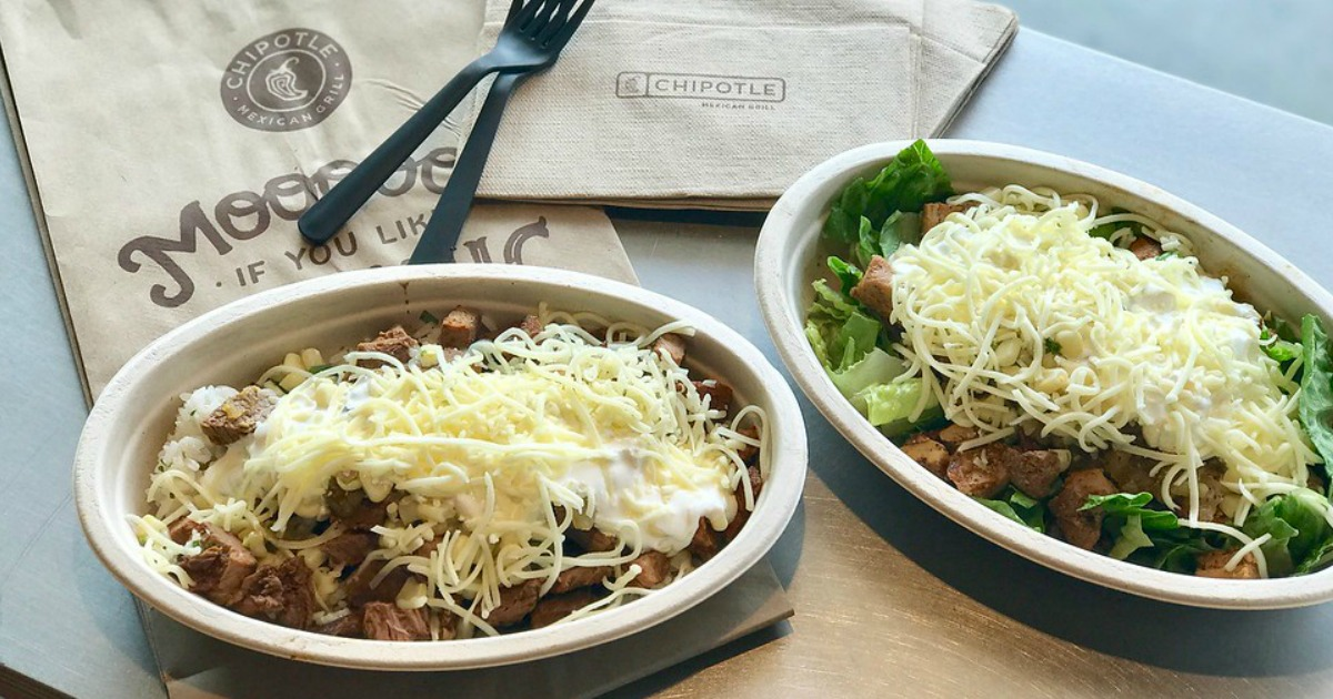 Chipotle Burrito Bowl and Salad on table