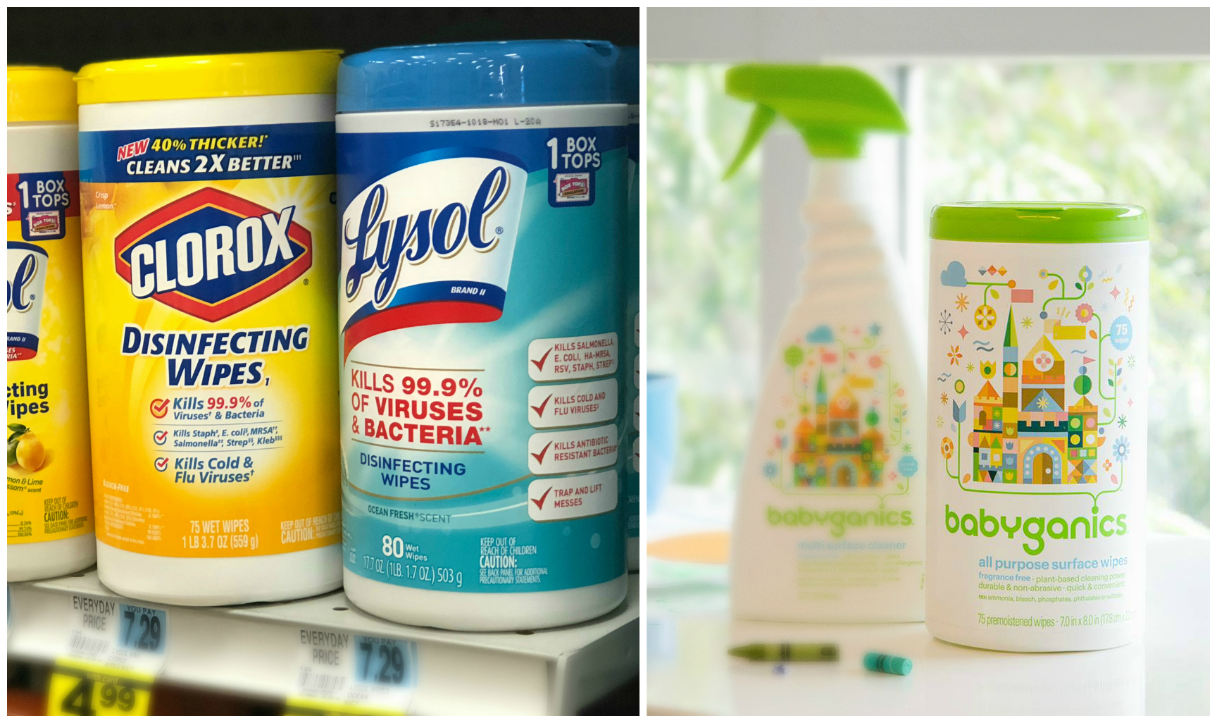 green natural eco-friendly cleaning products – Cleaning Wipes comparison - Lysol versus babyganics