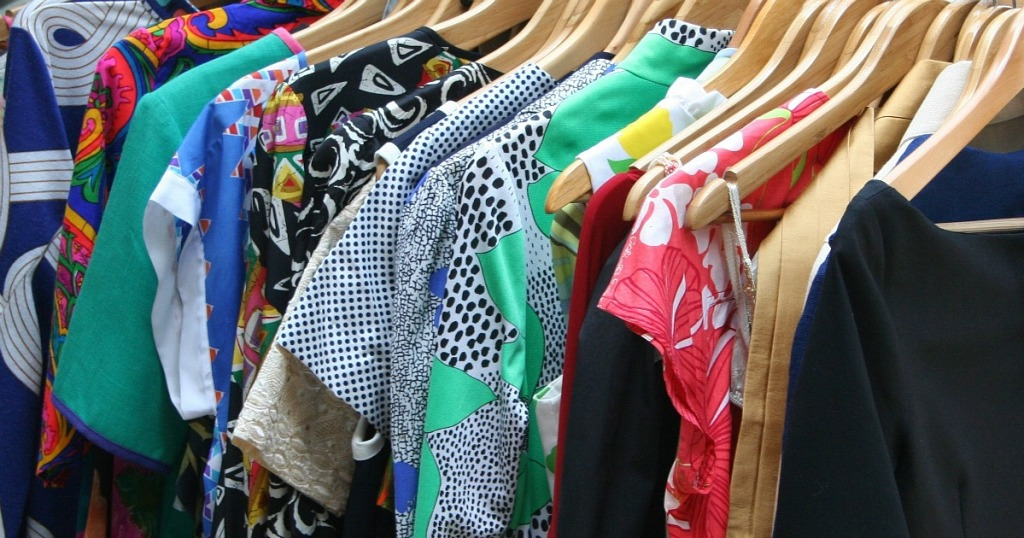 Bright clothes on hanger