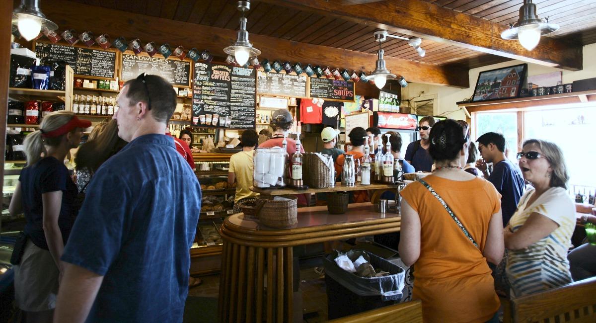 inside of a crowded bar