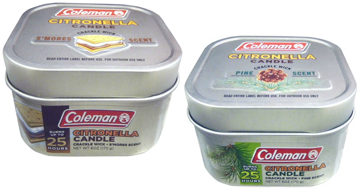 two coleman citronella candles in embossed tin containers