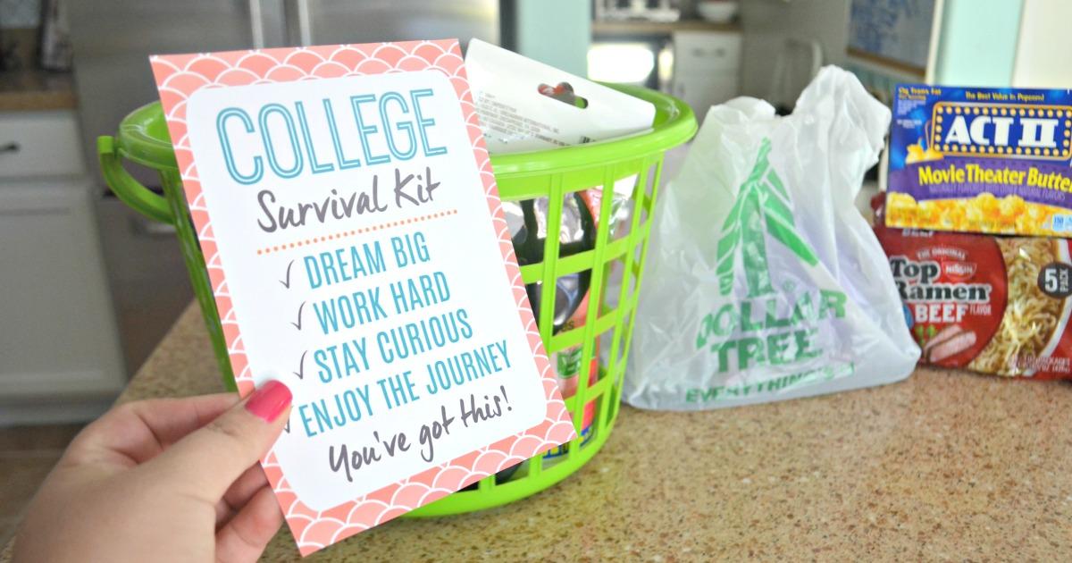 Dollar Tree DIY College Survival Kit - printable and basket