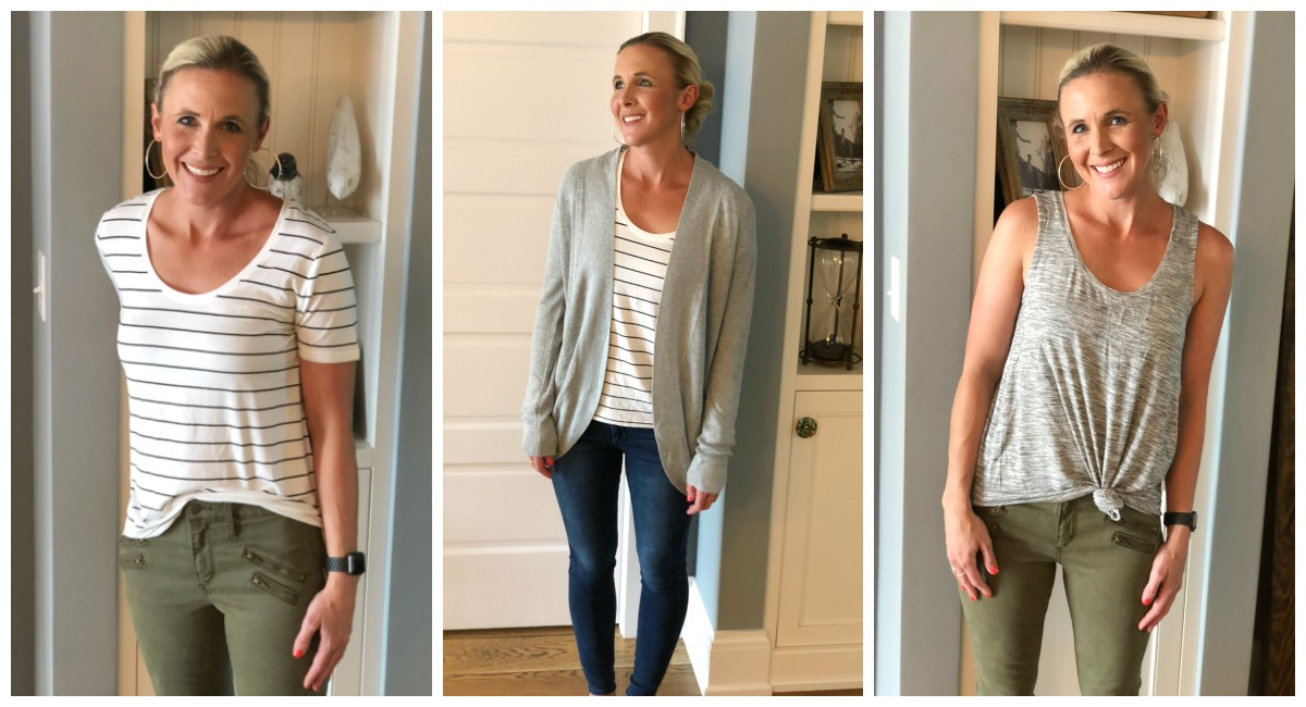 how to create your own closet capsule wardrobe — collin showing off three outfit options