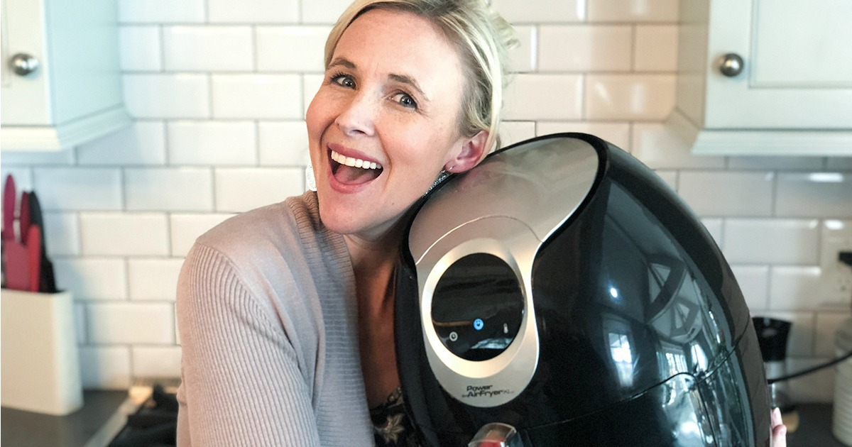 hip2save 10th birthday celebration — collin hugging an air fryer