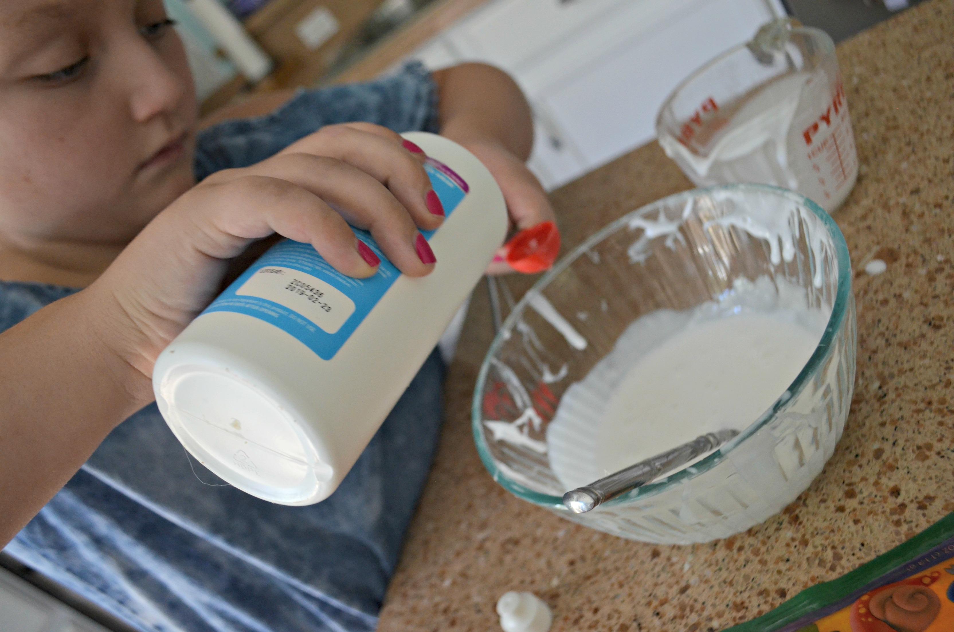 Make diy butter slime using clay – measuring glue