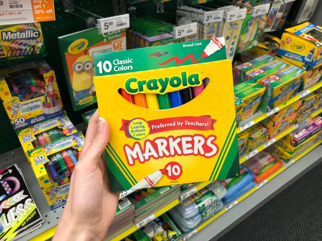 hand holding Crayola Broad Line Markers 10-Pack