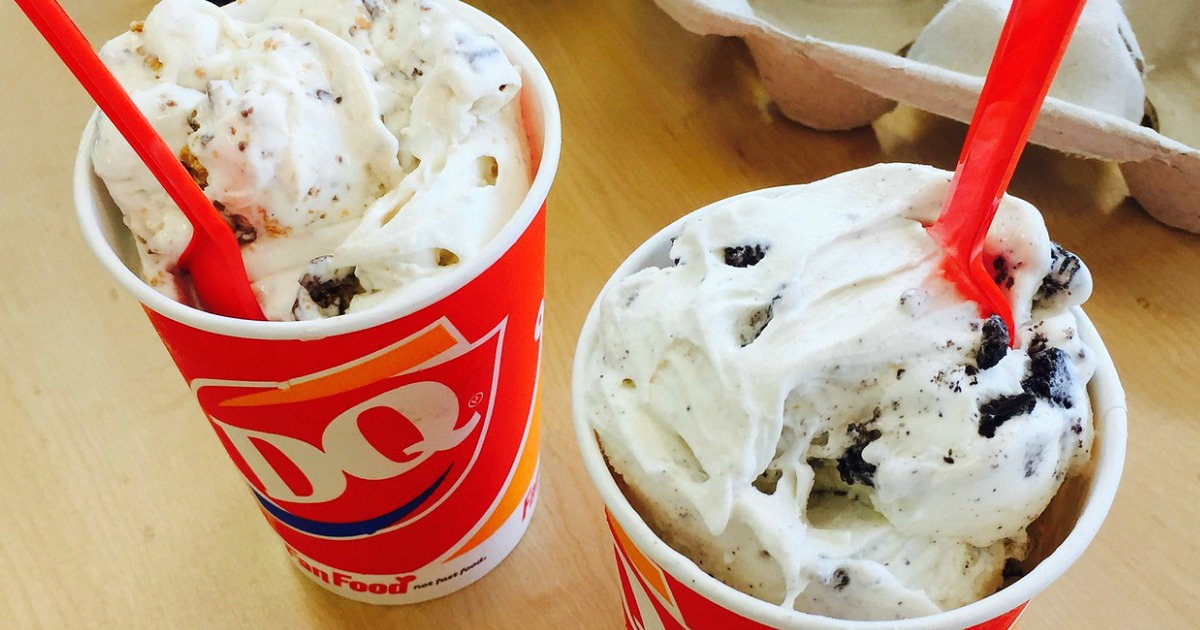 two dairy queen blizzards with spoons