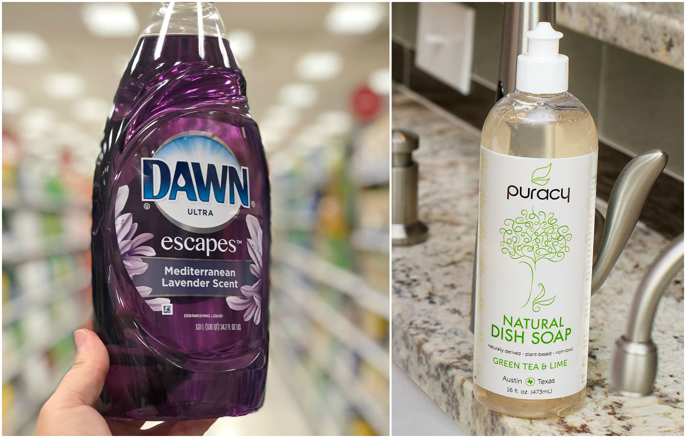 green natural eco-friendly cleaning products – dish soap comparison – Dawn versus Puracy
