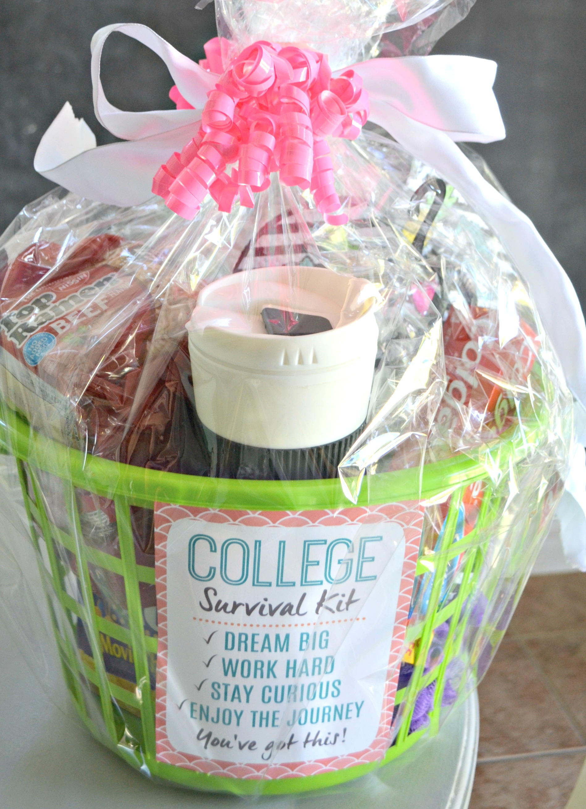 Dollar Tree DIY College Survival Kit with the printable is cellophane wrapped
