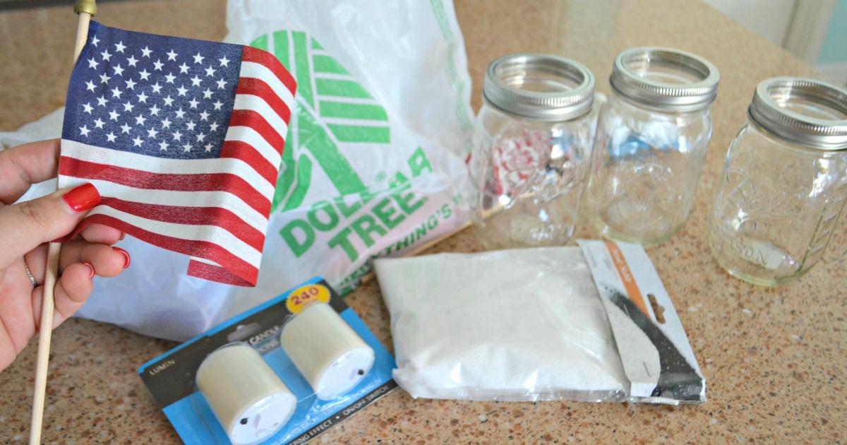 Dollar Tree 4th of July Craft Mason Jar Votives – supplies needed