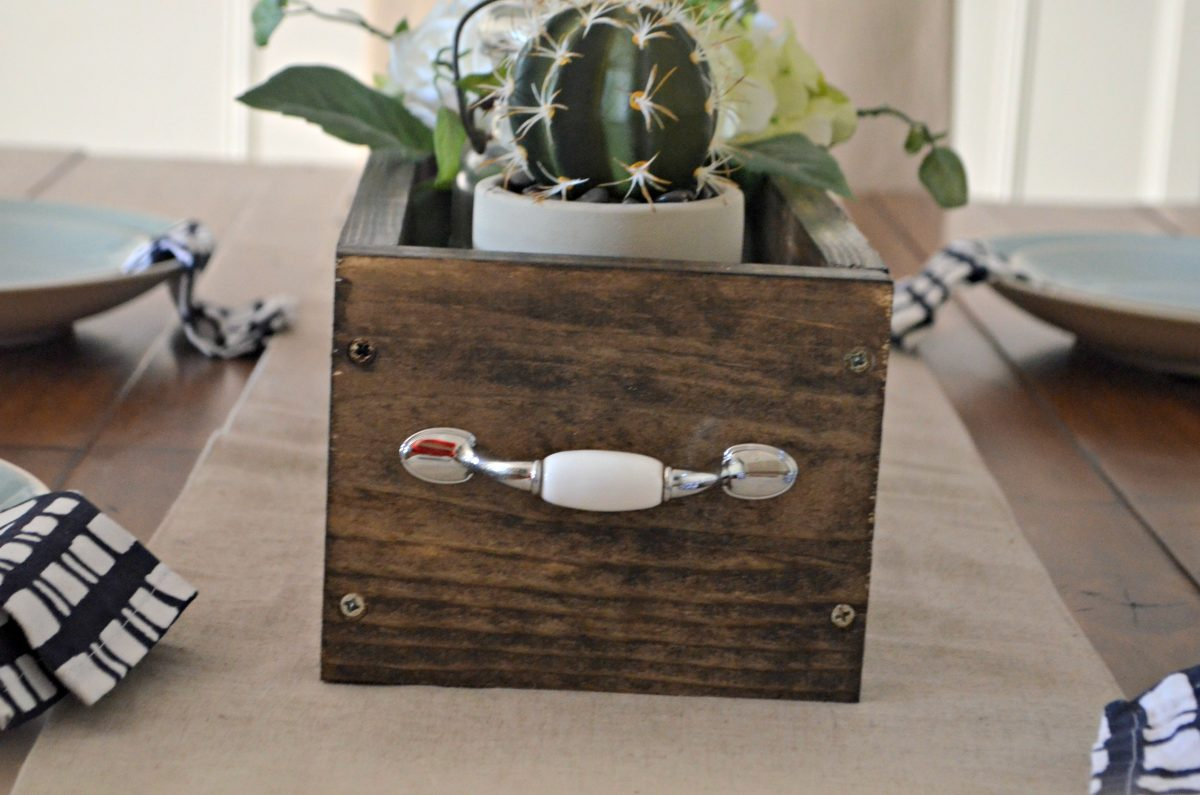 diy rustic farmhouse wood box centerpiece – handles are added to the ends