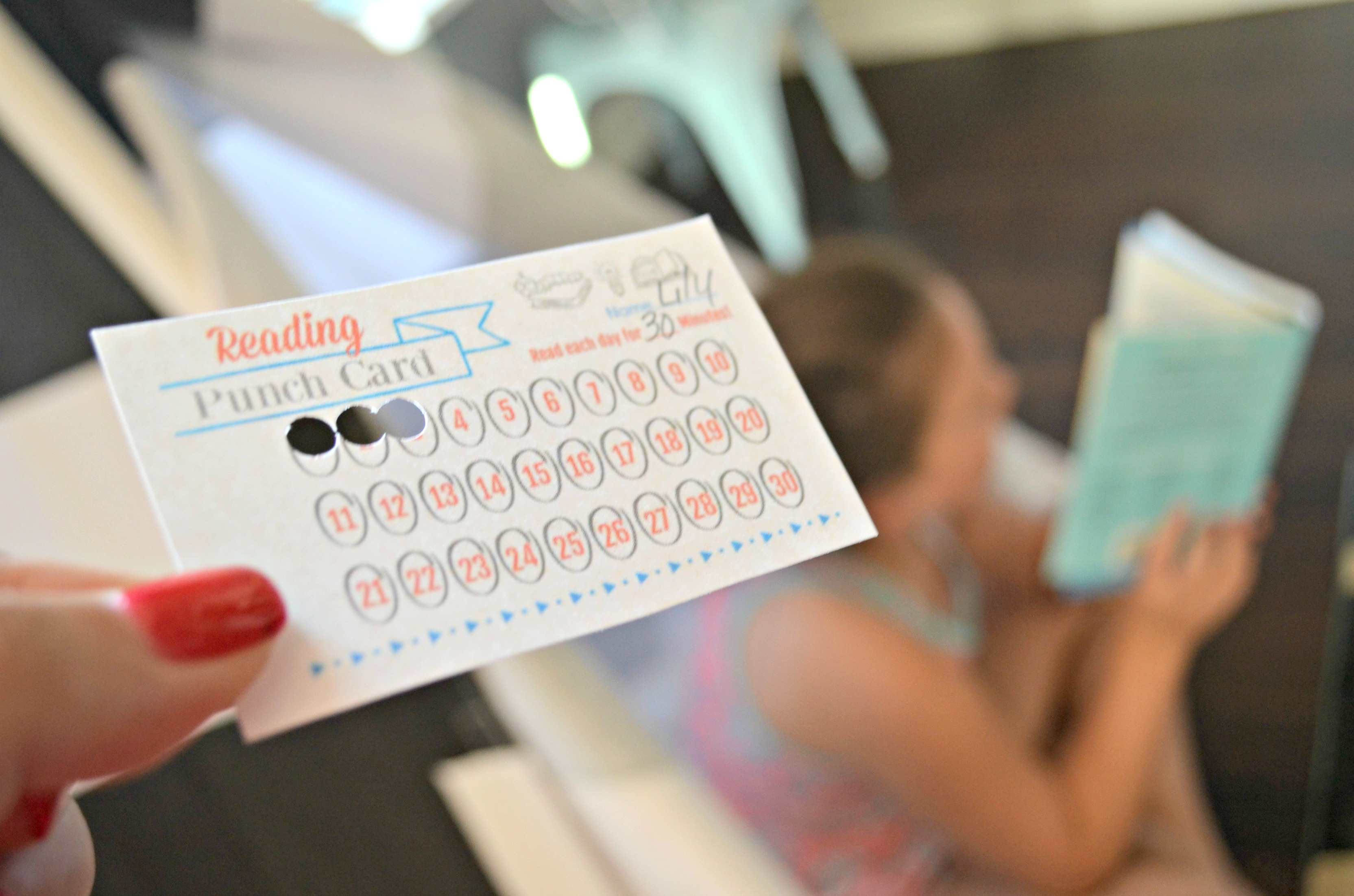free printable reading punch card – three hours are punched out
