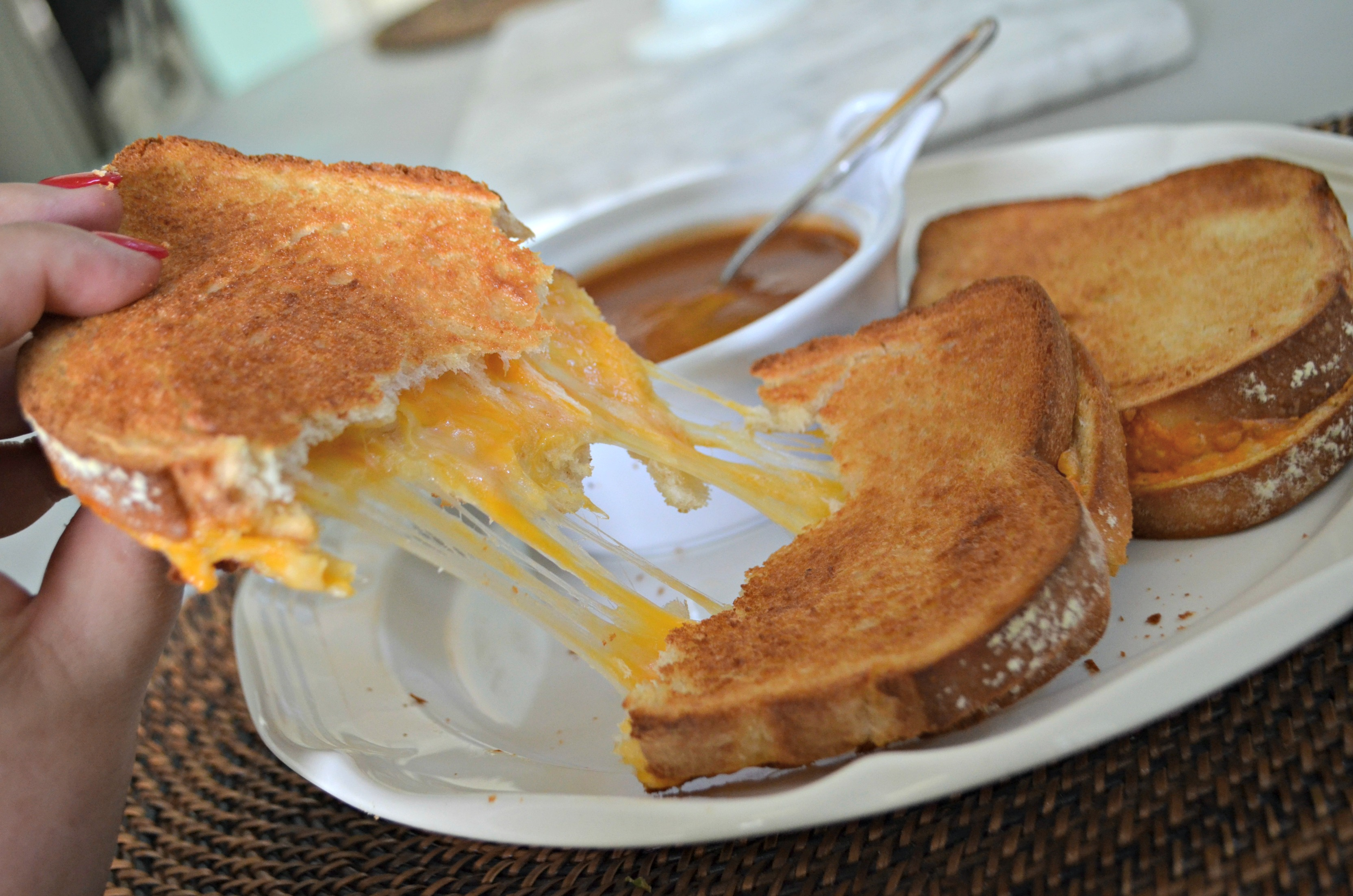 air fryer grilled cheese - pulled apart on a plate
