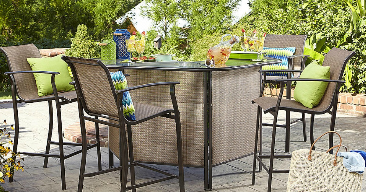 Sears Garden Oasis Harrison 5 Piece Outdoor Bar Set Only 314 99 Regularly 600 Hip2save
