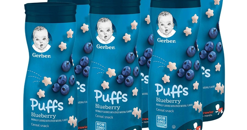 Gerber Graduates Puffs Blueberry Cereal Snack 1.48oz Containers 6-Count