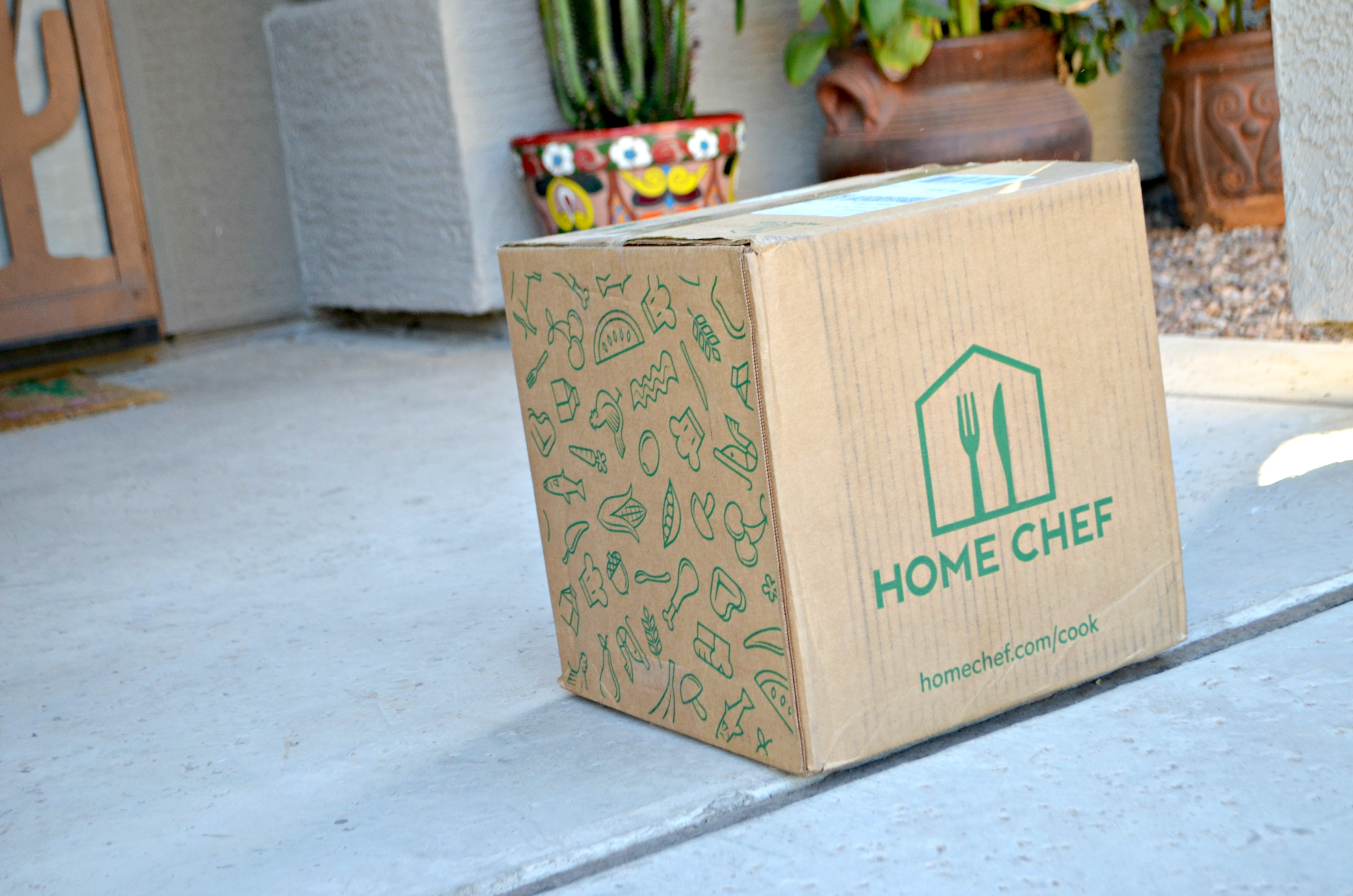 home chef deal | food box on porch