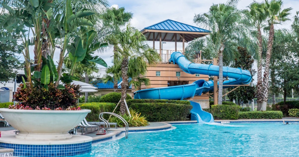 hotel swimming pool with a slide